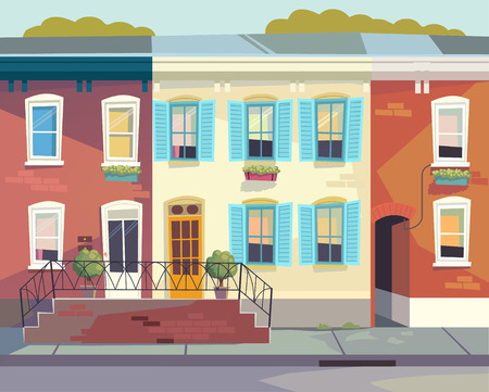 Front doors to the house. Sunny city street Vector illustration. Cartoon style
