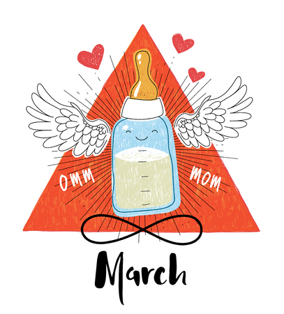 feeding bottle: Stylish greeting card design for International Womens Day celebration for Moms on a white background. Feeding bottle with white wings and heart