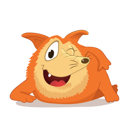 cunning: Cutet character with a long nose, reminiscent of a red fox or dog. Mascot character. Wily and cunning facial expression. Isolated. Illustration