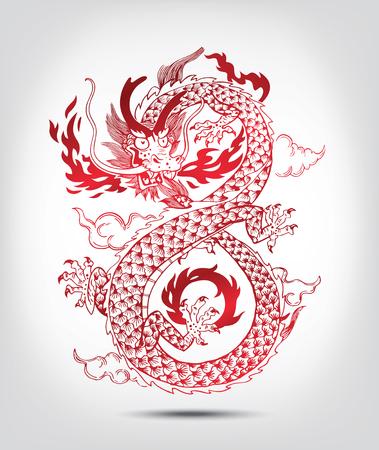 dragones: Ilustraci�n de chino tradicional oriental Drag�n escupiendo llamas, illustration.isolated. En blanco y negro. Vectores