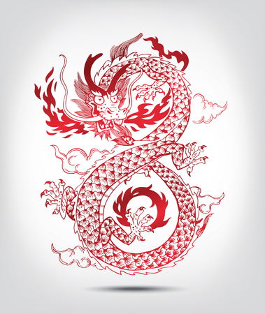 Illustration of Traditional Chinese oriental Dragon Spewing Flames, illustration.Isolated. Black and White.
