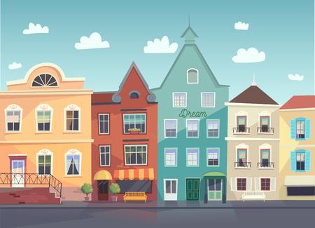 ciudad: Calle soleada de la ciudad. Puertas y ventanas de tiendas, comercios, fondo.