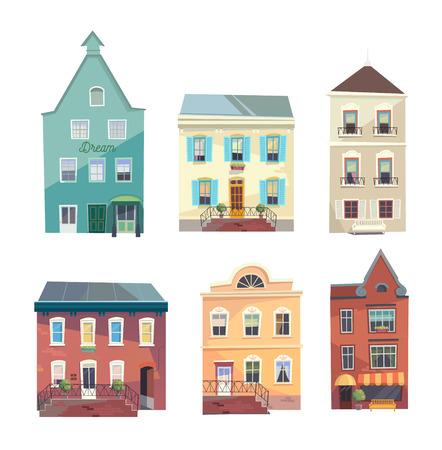 도시의 건물, 상점 및 식료품 만화 스타일 집합. 커뮤니티. 게임 배경 및 환경에 사용할 수 있습니다. 일러스트