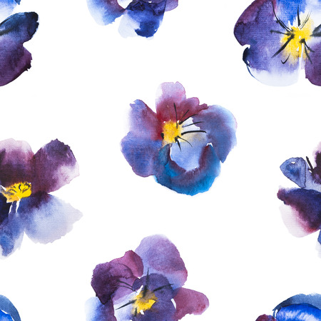 pansy: High Quality Watercolor Seamless Pattern Violet and Blue Flower of Pansy, Hand drawn design. Stock Photo