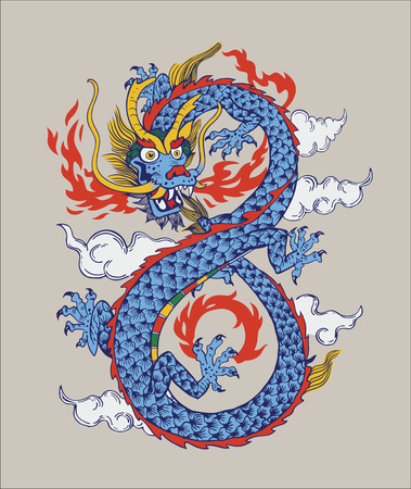 Colorful Illustration of Chinese oriental Dragon. Illustration