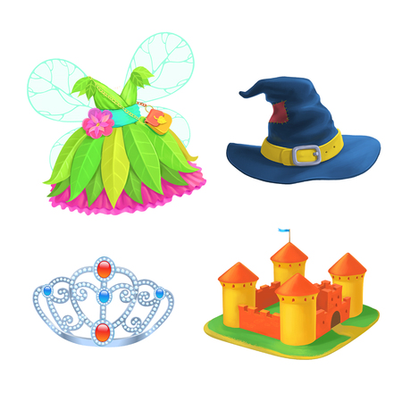 wizard hat: Set of Fairy Tales items. Crown, prinsess dress, Castle, Wizard hat. Isolated Stock Photo