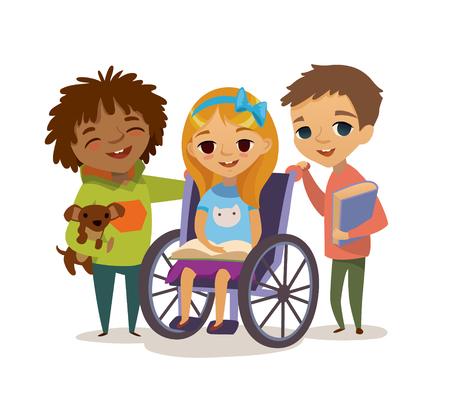 행복 어린 시절 개념입니다. 장애인 자녀를 돌보는. 학습과 함께 장애인 아이를 재생합니다. 통합 돕는. 일러스트
