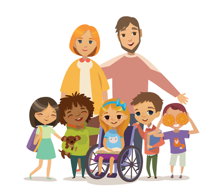 Group of Happy Childdren with books and Tutors. Caring for the disabled child concept. Learning and playing together. Handicapped Kid. Vector. Isolated. Ilustracja
