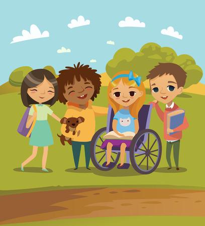 Grupa szczęśliwi Dzieci z książek i nauki PET i grać razem. Niepełnosprawne dziecko w wózku. Scena na zewnątrz szkoły. Wektor. Odosobniony.