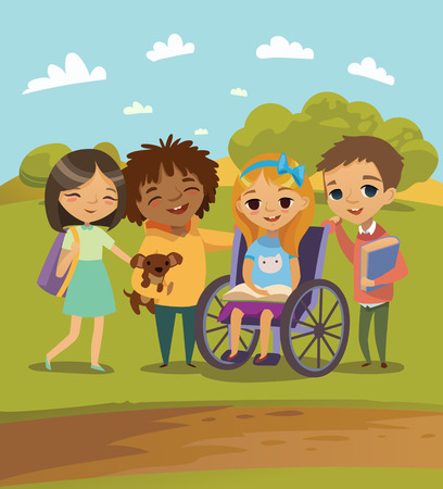 A Group of Happy Children with books and pet learning and playing together. Handicapped Kid in a wheelchair. School Scene Outdoors. Vector. Isolated.