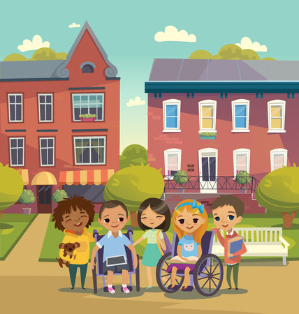 Group of Happy Children with books and tablets stand on a sunny city street. Schoolyard. Caring for the disabled child concept. Learning and playing together.