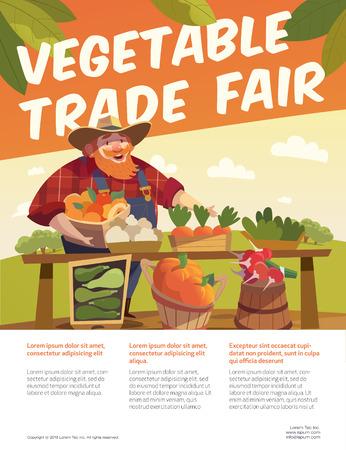 trade fair: Man farmer with bucket of fruits. Vegetable stall. Fruits and vegetables trade fair. Agriculture exhibition.