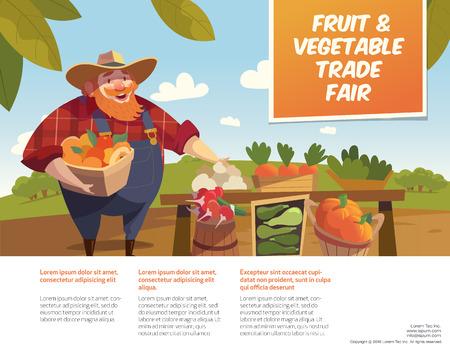 trade fair: Man farmer with bucket of fruits. Vegetable stall. Fruits and vegetables trade fair. Agriculture exhibition. Modern flat design. Illustration