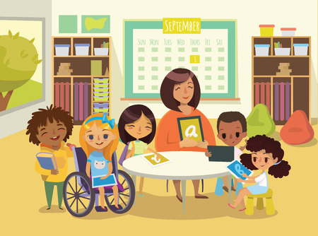 special education: Group of Children and Tiitor with tablets in a classroom. School lesson illustration. Education using the devices. Caring for the disabled child. Handicapped Kid. Vector. Isolated.