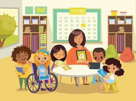 Grupo de niños y Tiitor con los comprimidos en un salón de clases. ilustración lección de la escuela. Educación utilizando los dispositivos. El cuidado de los niños discapacitados. Niños discapacitados. Vector. Aislado.