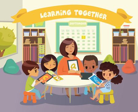 그룹 어린이와 Tiitor 교실에서 정제와 함께. 학교 수업 그림입니다. 장치를 사용한 교육. 장애 아동 돌봄. 장애 아동. 벡터. 외딴.