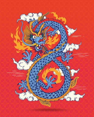 Illustratie van kleurrijke traditionele Chinese Oosterse Draak spuwen Flames, vector illustratie. Infinity vorm. Geïsoleerd.