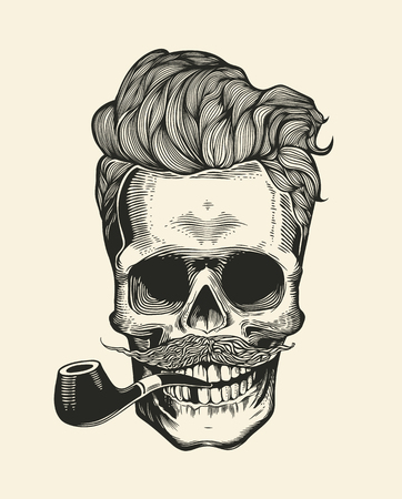 skull character: Skull hipster with mustache, beard, tobacco pipes and sunglasses. Sticker that represents skull character. Vector illustration in vintage engraving style. Perfect for t-shirt print.