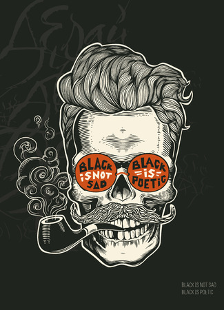 skull character: Hipster skull silhouette with mustache, beard, tobacco pipes and glasses. Stylized Skull character with calligraphy on a background. Vector illustration in vintage engraving style. t-shirt print