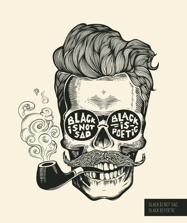 Crânio. Silhueta de caveira hipster com bigode, barba, cachimbos e óculos. Letras preto não é triste, preto é poético Ilustração em vetor no estilo vintage da gravura. Perfeito para impressão de t-shirt.