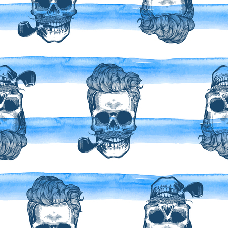 old man portrait: Hipster seamless pattern with skull silhouettes, flowers roses and watercolor stripes at the background. Skull silhouette in engraving style with mustache, beard, tobacco pipes. Black and white.