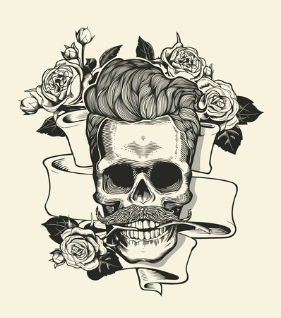 arose: Skull. Hipster skull silhouette with mustache and arose in teeth with ribbon and bouquet of roses on a background. Vector illustration in vintage engraving style. Perfect for t-shirt print.