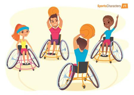 Handisport Zeichen. Jungen und Mädchen im Rollstuhl baysball Handicap Ego-Perspektive spielen. Medizinische Rehabilitation Illustration.