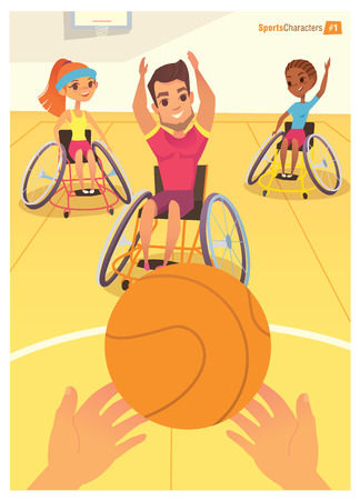 rehabilitation: Handisport. Boys and girls in wheelchairs playing baysball in a school gym. Handicap First-person view. Caring for the disabled people children. Medical rehabilitation concept.