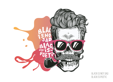 black head and moustache: Skull. Hipster silhouette with mustache glasses and tobacco pipe on a colorful splash background. Vector illustration in modern engraving style. Perfect for t-shirt print.
