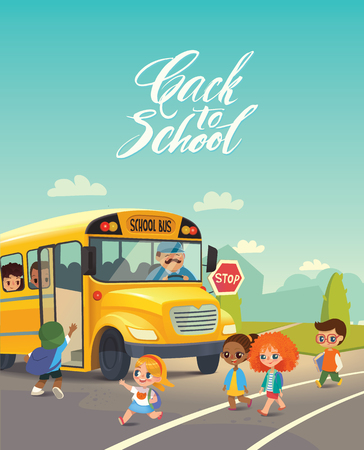 yellow schoolbus: School bus traffic stop. Back-To-School Safety Concept. Kids riding on school bus. Child boarding school bus. Kids crossing the road.