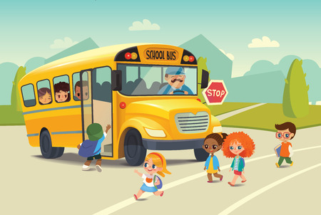 School bus traffic stop law. Back-To-School Safety Concept. Kids riding on school bus. Child boarding school bus. Kids crossing the road. Vector illustration.