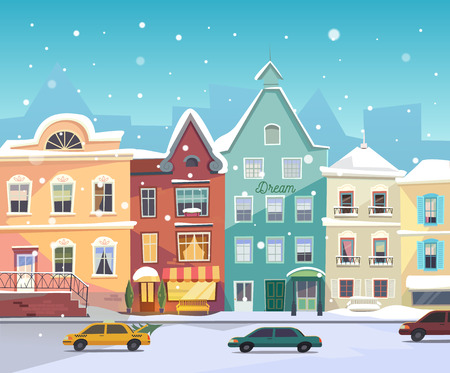 Sunny City street at Winter. Cartoon buildings. Christmas background with urban houses, boutiques, shops, grocery facade, bar door. Cars in the road at winter. Vector. Snowfall. Vector