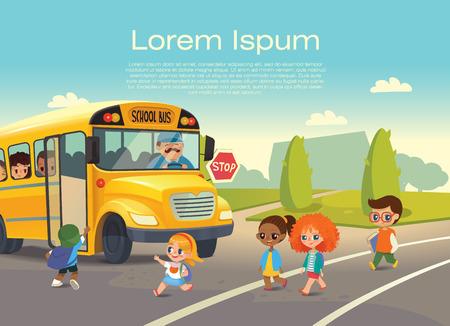 School bus traffic stop. Back-To-School Safety Concept. Kids riding on school bus. Child boarding school bus. Kids crossing the road.