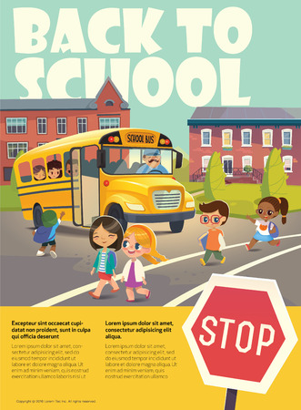 passing the road: Back To School Safety Flayer depicting School bus stop. Passing a school bus. Child boarding school bus. Kids crossing the road. Vector illustration.