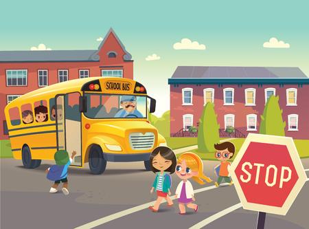 Powrót do szkoły. Ilustracja przedstawiająca przystanek autobusowy szkoły, autobus szkolny dla dzieci. Przejeżdżając autobusem szkolnym. Dzieci przechodzące drogą. Ilustracji wektorowych.
