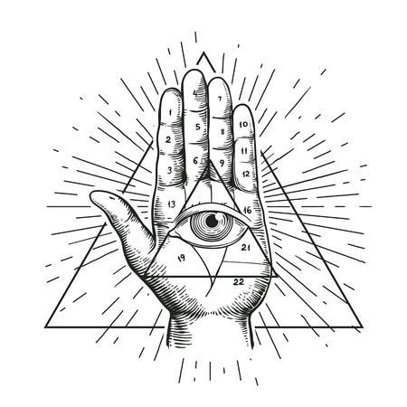 Hipster illustration with sunburst, hand, and all seeing eye symbol nside triangle pyramid. Eye of Providence. Masonic symbol. Grunge Esoteric spiritual ethnic mascot. t-shirt design. Stock Illustratie