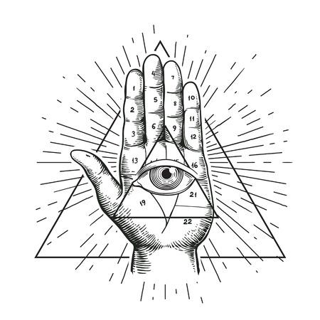 illustrazione Hipster con raggera, a mano, e tutti vedendo simbolo dell'occhio abitacolo della piramide del triangolo. Eye of Providence. simbolo massonico. Grunge Esoteric mascotte etnica spirituale. t-shirt. Vettoriali