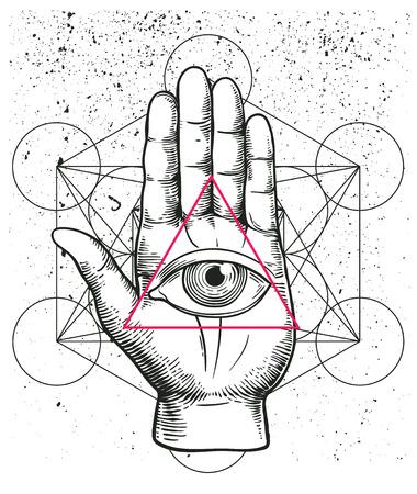 신성한 기하학, 손, 모든 보는 눈 기호 nside 삼각형 피라미드 소식통 그림입니다. 섭리의 눈. 프리메이슨 상징. 그런 비전의 영적 민족의 마스코트. t- 셔