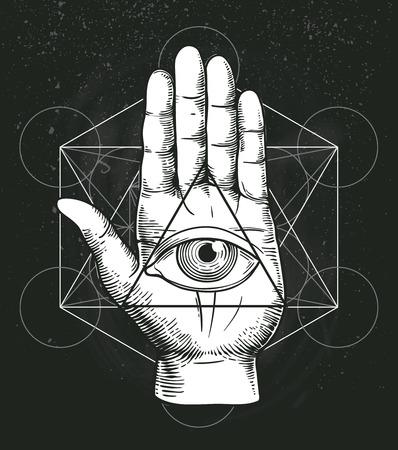 Hipster illustration with sacred geometry, hand, and all seeing eye symbol nside triangle pyramid. Masonic symbol. Stylish vintage background. Grunge Esoteric spiritual ethnic mascot. t-shirt design Ilustrace