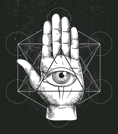 Hipster illustration with sacred geometry, hand, and all seeing eye symbol nside triangle pyramid. Masonic symbol. Stylish vintage background. Grunge Esoteric spiritual ethnic mascot. t-shirt design Illustration