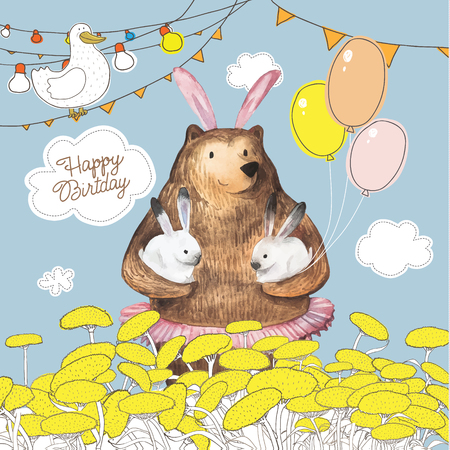 Cute cartoon bear with the balloons holding two little bunnies. Happy Birthday card design. Hand Drawn Watercolor elements.