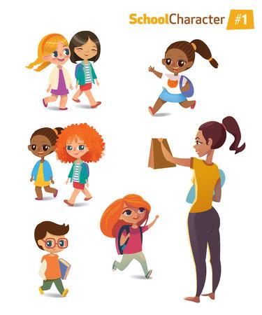 friends having fun: Set of happy joyful cartoon kids in motion and woman. Vector illustration. Isolated
