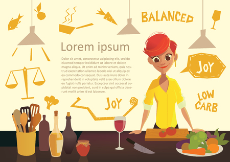 low carb diet: Young happy woman cooking in the kitchen. Healthy eating. Low Carb Diet flyer. Healthy Eating infographics. Vector illustration in modern flat style.