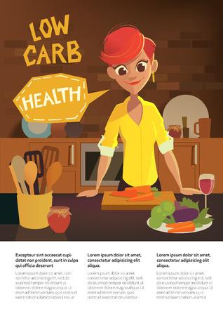 モダンなキッチンで料理漫画女性の健康食品。果物や野菜。低炭水化物ダイエットのパンフレット。ベクトル フラット イラスト。  イラスト・ベクター素材