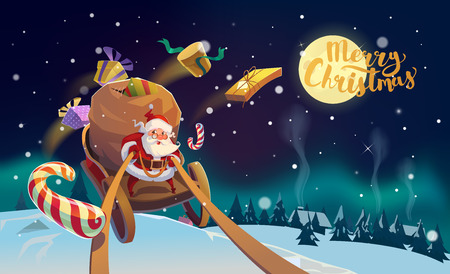 Christmas Card. Santa with the bunch of presents riding on a sleigh at the winter forest. Polar Lights in the back. Merry Christmas Lettering.