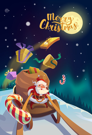 Christmas Card. Santa with the bunch of presents riding on a sleigh at the winter forest. Polar Lights at the background. Merry Christmas Lettering.