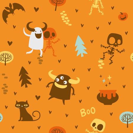 Halloween theme pattern, Cute skeletons and monsters in a forest. Mexican day of the dead theme. Flat illustration