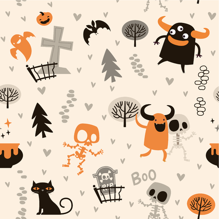 Halloween theme pattern, Cute skeletons and monsters in a forest. Mexican day of the dead theme.