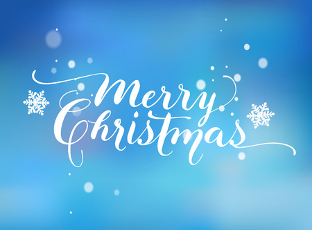 Lettering based on a Nib Calligraphy. Blue background with snowflakes. Merry Christmas.