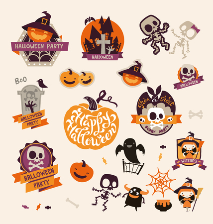 Set of Retro Vintage Happy Halloween Badges, Stickers, Labels. Design Elements for Greetings Card or Party